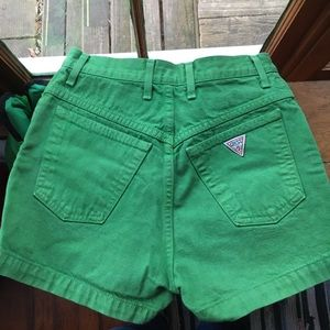 Vintage GUESS Green High-Waisted Jean Shorts